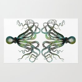 Octopus marine life watercolor art Rug