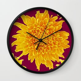 Golden Yellow Chrysanthemums Burgungy Art Design Wall Clock
