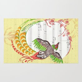 Pheasant Play (pheasant and cherry blossoms on sheet music) Rug
