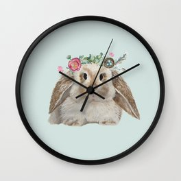 Spring Bunny with Floral Crown Wall Clock