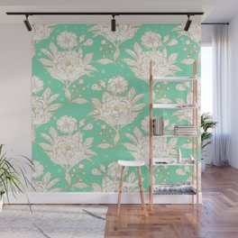 stylish golden and mint floral strokes design Wall Mural