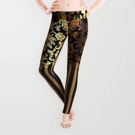 Gold and Black Damask and Stripe Design Leggings
