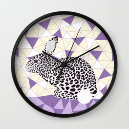 Cute Purple Pastel Rabbit Leopard Pattern Design Wall Clock