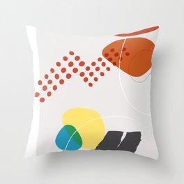 Shape & Hue Series No. 3 – Yellow, Orange & Blue Modern Abstract Throw Pillow
