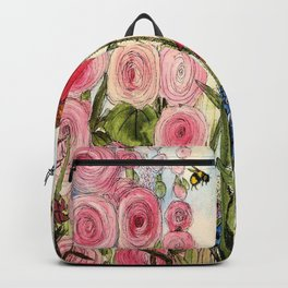 Contemporary Cottage Garden Flower Painting  Backpack