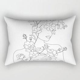 Minimal Line Art Woman with Wild Roses Rectangular Pillow