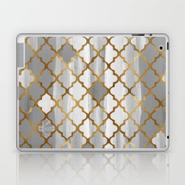 Moroccan Tile Pattern In Grey And Gold Laptop & iPad Skin