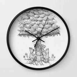 Woodland Teddy Tree Wall Clock