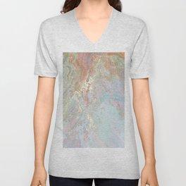 Pastel unicorn marble Unisex V-Neck