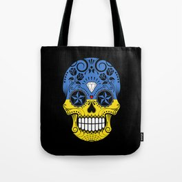 Sugar Skull with Roses and Flag of Ukraine Tote Bag