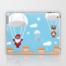 Santa Claus and reindeer parachutists delivering presents Laptop & iPad Skin