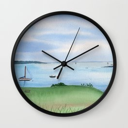 View from Fort McClary in Maine Watercolor Painting Wall Clock