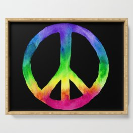 Rainbow Watercolor Peace Sign - Black Background Serving Tray