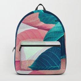 Pink and Blue Leaf Backpack