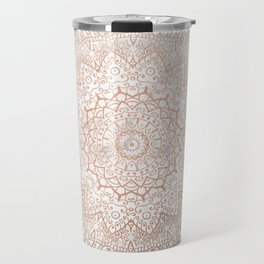 Mandala - rose gold and white marble 3 Travel Mug