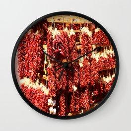 Red Chili Ristra And Gralic Wall Clock