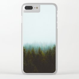 Landscape Pine Forest Green Evergreen Trees Minimalist Simple Landscape Clear iPhone Case