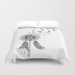 Dandelion, Let freedom flow with the wind of your dreams Duvet Cover