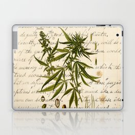 Marijuana Cannabis Botanical on Antique Journal Page Laptop & iPad Skin