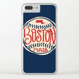 Hand Drawn Baseball for Boston with custom Lettering Clear iPhone Case