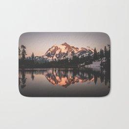 Alpenglow - Mountain Reflection - Nature Photography Bath Mat