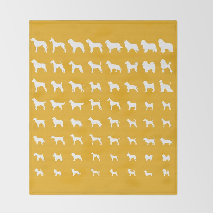 All Dogs (Gold) Throw Blanket