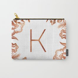 Letter K - Faux Rose Gold Glitter Flowers Carry-All Pouch
