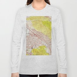 Vintage Map of Burbank California (1953) Long Sleeve T-shirt