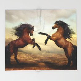 The Dueling Stallions Throw Blanket