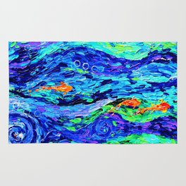Follow the fish - abstract painting Rug