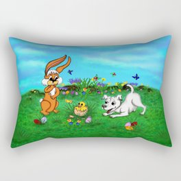 Easter - Spring-awakening - Puppy Capo with Rabbit and Chick Rectangular Pillow