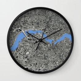 Map of London Thames Drawing Wall Clock