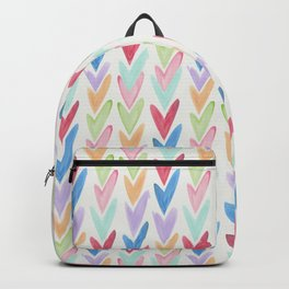 Modern hand painted colorful watercolor abstract chevron Backpack