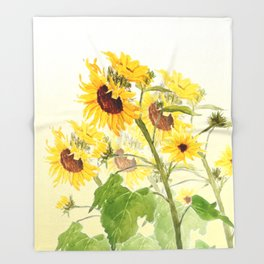 One sunflower watercolor arts Throw Blanket