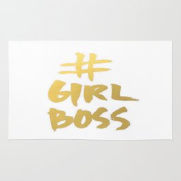 Gold Foil Girl Boss Inspiration Quote Office Boss Babe Brushstroke Watercolor Ink Classic Rug