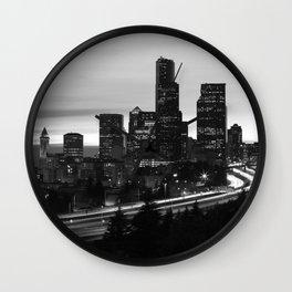 Seattle Skyline Sunset City - Black and White Wall Clock