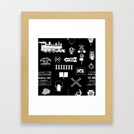 Railroad Symbols on Black Framed Art Print