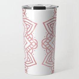 Modern geometric white rose faux gold floral mandala Travel Mug
