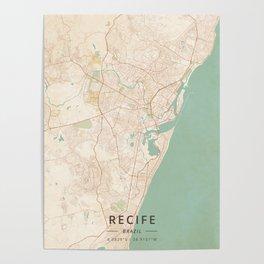 Recife, Brazil - Vintage Map Poster