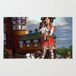 Gothic Lolita in the Shoe with Dogs Rug