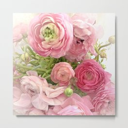 Shabby Chic Cottage Ranunculus Peonies Roses Floral Print Home Decor Metal Print