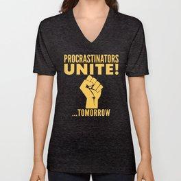 Procrastinators Unite Tomorrow (Blue) Unisex V-Neck