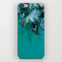 DREAMY FEATHERS & LEAVES - Deep Cyan iPhone Skin