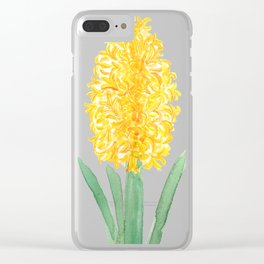 yellow hyacinth watercolor Clear iPhone Case
