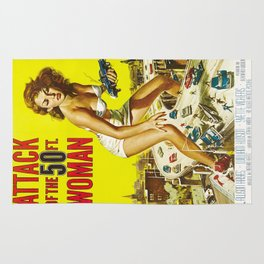 Attack Of The 50 Foot Woman, vintage horror movie poster Rug