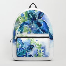 Sea Turtle Turquoise Blue Beach Underwater Scene HAwaii Florida Backpack