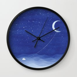 Follow the moon, watercolor blue ocean sea sailboat Wall Clock