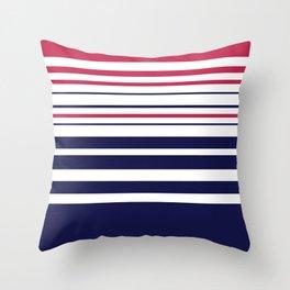 Striped red blue white Throw Pillow