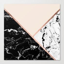 Modern black white marble rose gold color block stripes blush pink Canvas Print