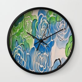 Bue and Green Roses Wall Clock